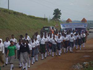 Students during a band matching procession.